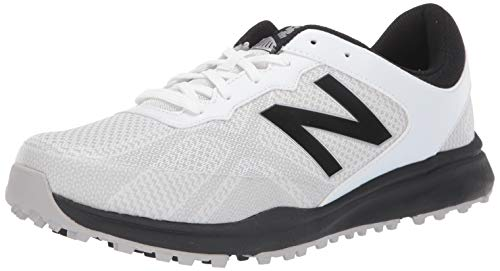 New Balance Men's Breeze Breathable Spikeless Comfort Golf Shoe, White/Black, 9 D D US