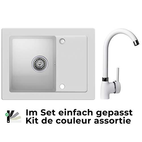 Spülbecken Weiß 64 x 49 cm, Granitspüle + Küchenarmatur + Siphon, Küchenspüle ab 45er Unterschrank in 5 Farben mit Armatur Varianten, Einbauspüle von Primagran
