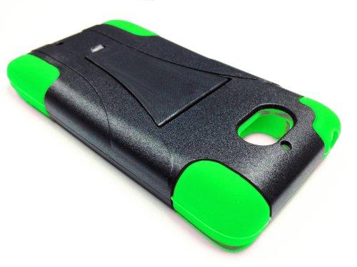 for Motorola Droid Mini XT1030 Kickstand Hybrid Phone Cover Case - Green/Black + Happy Face Phone Dust Plug