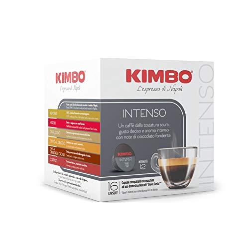 Kimbo Capsule di Caffè Intenso, Compatibile con Nescafé Dolce Gusto, 6 Pacchi da 16 Capsule (Totale 96 Capsule)