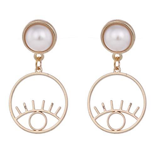 cooltime White Pearl Golden Zelda Princess Eye Dangle Drop Elegant Earring for Women
