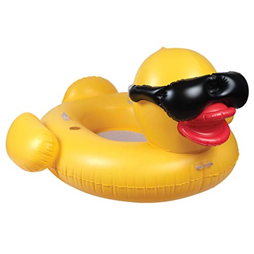 GAME 51901-BB Giant Mesh Bottom Derby Duck Inflatable Pool Float, Quick-Fill Valves, Built-in Cup Holders, Yellow