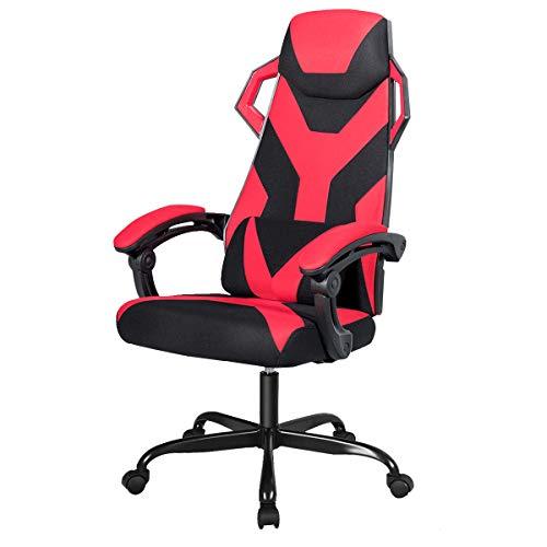 GIANTEX Gaming Stuhl mit Massage, Racingstuhl höhenverstellbar, PC Stuhl Computerstuhl 360° drehbar, inkl. Kopfstütze und Lendenkissen, ergonomisches Design für Gamer (rot)