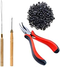 TIHOOD Hair Extension Kit Pliers Pulling Hook Bead Device Tool Kits and 200PCS Black Silicone Lined Micro Rings