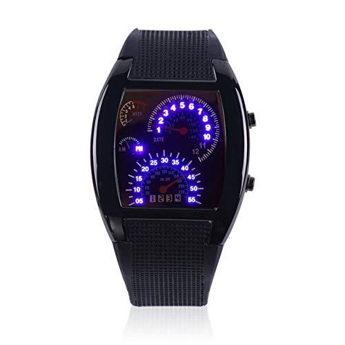 cottonlilac Mens Sports RPM Aviation Turbo Blue Flash LED Sports Car Meter Dial Flash LED Reloj Reloj de Pulsera Sports Car Meter Gift - Negro