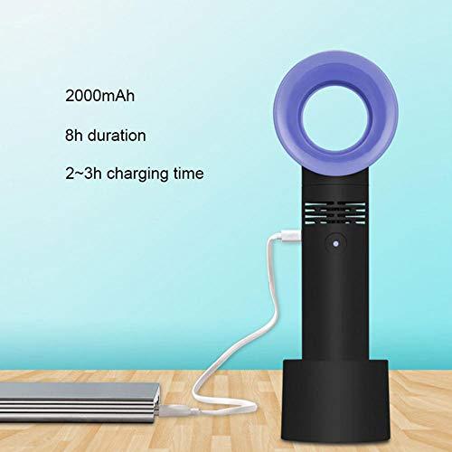 GTRB fan Mini ventilatore USB Senza lama Condizionatore d'aria Ventilatore portatile Ventilatore 3 velocità Tavolo estivo Raffreddatore per foglie senza foglie Ventilatore con luce a LED