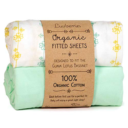 Luvberries 100% Organic Cotton Bassinet Sheets (Set of 2) for The Guava Lotus Travel Bassinet - Baby and Newborn, Fitted Bassinet Sheets, for Boys & Girls (Green and Yellow)