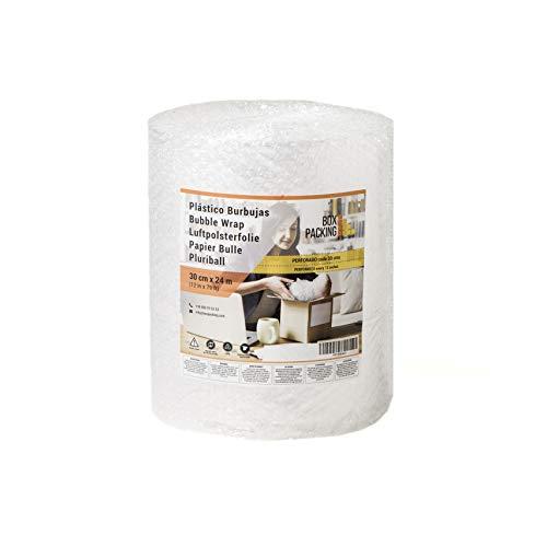 BOXPACKING   Rollo de Plástico de Burbujas   Perforado cada 30 centímetros   30 cm ancho x 24 m largo   Papel Burbuja para Embalaje y Mudanza