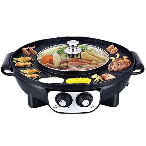 RHSMP Elektrische huishoudelijke bakvorm, elektrische Koreaanse grill, hot pot, Maifan Stone multifunctionele en hete pot, tafelgrill, 2 in 1