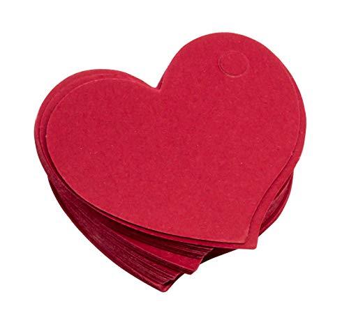 50 x Herzform Anhängeschild 4,6x4,2cm Herz Papier rot Preisschild Namensschild Geschenk Hochzeit Einladung Kofferanhänger Heart Label Tag Anhänger zum bemalen und gestalten Scrapbooking DIY