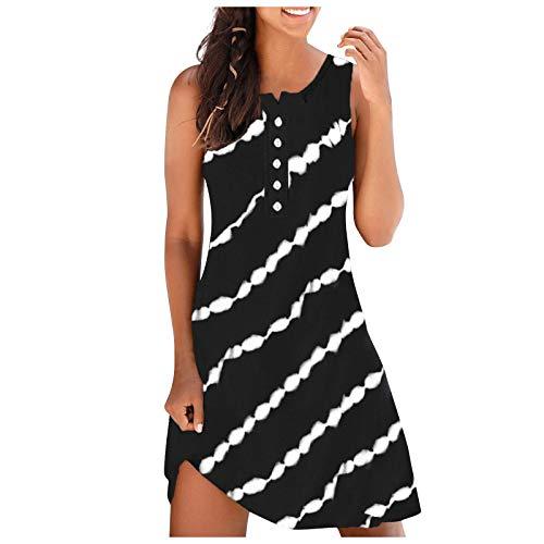 FOTBIMK Vestido de verano con estampado de rayas para mujer, sin mangas, vestido maxi hasta la rodilla