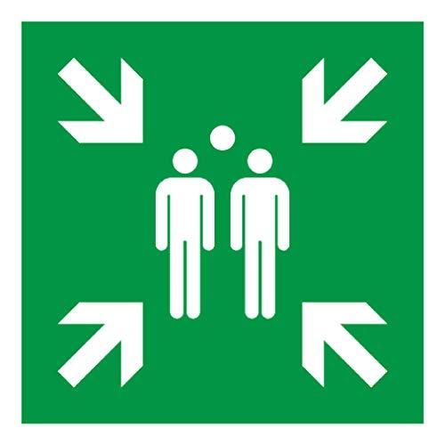 Señal de seguridad de puntos de reunión Anro | Señal de advertencia de ruta de evacuación | Autoadhesivo y resplandor en la oscuridad | Para escuelas, oficinas, fábricas, clínicas