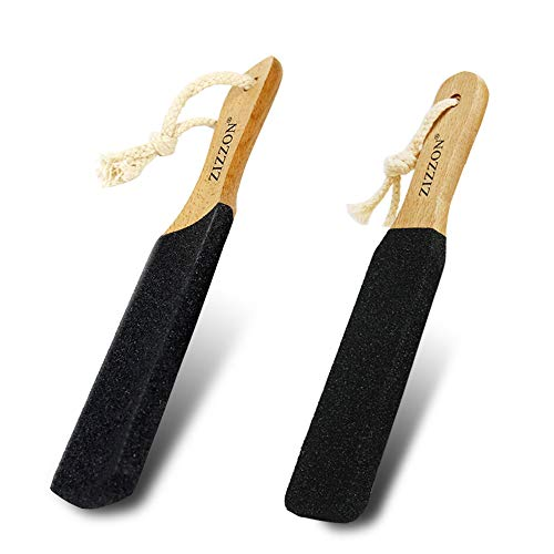 ZIZZON Foot File Rasp Callus Remover Foot Scrubber,Professional Pedicure Rasp Tool for Dead Skin Crack Heels Beech Wood 2 pack