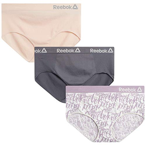 Reebok Women's Plus Size Seamless Hipster Briefs Underwear (3 Pack), Cadet Jacquard//Lotus/Gray...