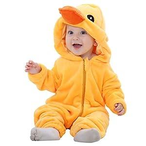 MICHLEY Bebé Ropa Mameluco Niños Niñas Pelele Pijama de Primavera y otoño Franela Traje de Animales Pato-80cm