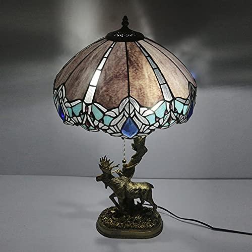 Tiffany Style Lámpara De Mesa Con Mampostería Sombra De Vidrieras Luz Mesita De Noche, Base De Resina De Ciervos Lámpara Escritorio Para Sala De Estar Dormitorio Regalo