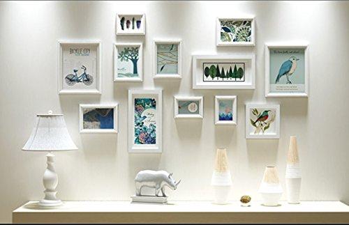 AI XIN SHOP Amerikanische Holzwand Bild Fotorahmen Galerie Schlafzimmer Restaurant Wand Sammlung Dekoration (Farbe : Weiß)