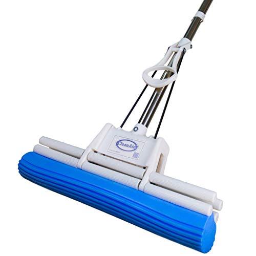 CleanAid OneTouch PRO limpiador de pisos, 38 cm de ancho, mopa, doble escurridor, con esponja de PVA y mango de acero inoxidable, efectivo limpiador de pisos