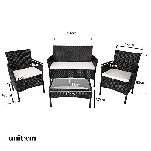 PovKeever Black Rattan Furniture Set for Outdoor Garden or Indoor Conservatory, 4 Pcs Set Rattan Sofa Chairs, Rattan Table with Tempered Glass Table Top