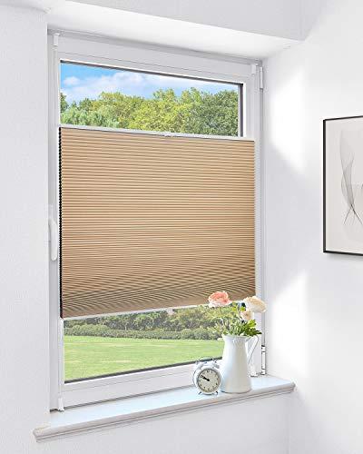 Atlaz Wabenplissee, Verdunklungsplissee Klemmfix, Zweifarbig Thermoplissee mit Metallzubehör 90x140cm(BxH) Weiß-Beige für Fenster & Tür, Sonnen-, Sicht- & Schallschutz Wärmeisolierung