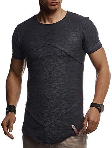 Leif Nelson Herren Sommer T-Shirt Rundhals Ausschnitt Slim Fit Baumwolle-Anteil Cooles Basic Männer T-Shirt Crew Neck Jungen Kurzarmshirt O-Neck Kurzarm Lang LN8281 Anthrazit Medium