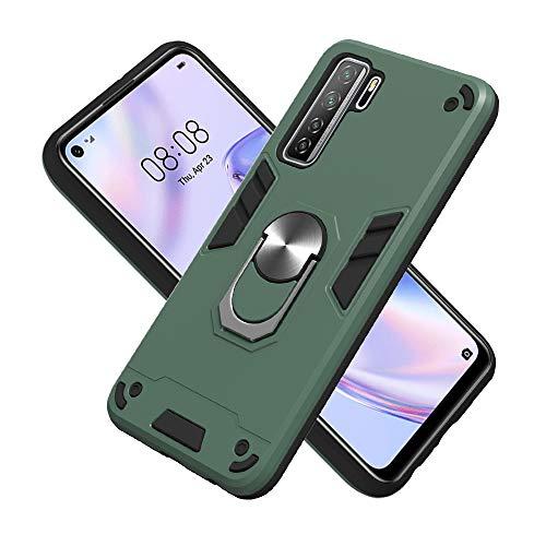 Armure Coque Huawei Honor Play 4T, Boîtier PC + TPU Double Layer Housse résistant aux Chocs avec Support à Anneau Rotatif à 360 degrés (Vert foncé)