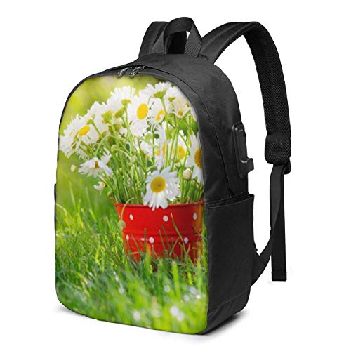XCNGG Summer Floral Flowers Daisies Printed Travel Lightweight Backpack with USB Charging Port & Headphone Port