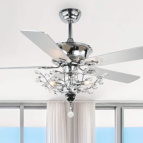 52 in Silver Branches Crystal Ceiling Fan, Remote Control, Reversible Motor & 5 Wood Reversible Blades, K9 Crystal Pendant, Chrome Finish (52', Chrome)