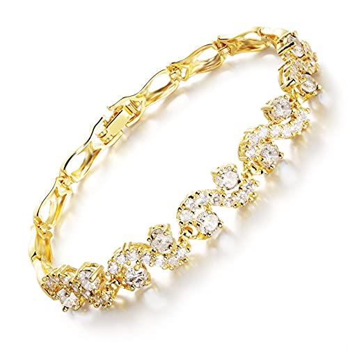 Bianlang Incrustado 3a Luo Código Zircon Pulsera, Pulsera de Damas de Oro Chapado en Cobre, Diamantes Azules y Blancos, Joyas ( Color : Golden White Diamond )
