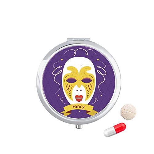 DIYthinker Purple Mask Happy Carnival Of Venice Travel Pocket Pill Case Medicine Drug Storage Box Dispenser Mirror Gift 7.0Cm Diameter X 1.2Cm Height Silver