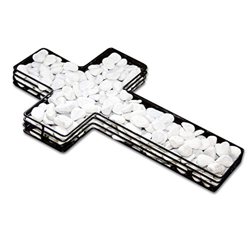 HAC24 Dekokreuz mit Grabkerzenhalter Grabdeko Kreuz Gitter Pflanzschale Grabschmuck