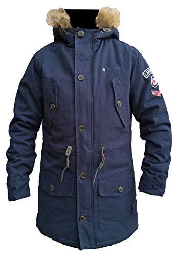 Lambretta Parka für Herren, Fischschwanz, warm, gefüttert, Fleece, mit Kapuze, gepolstert, Gr. S-4XL (UK-Größe M, Marineblau)