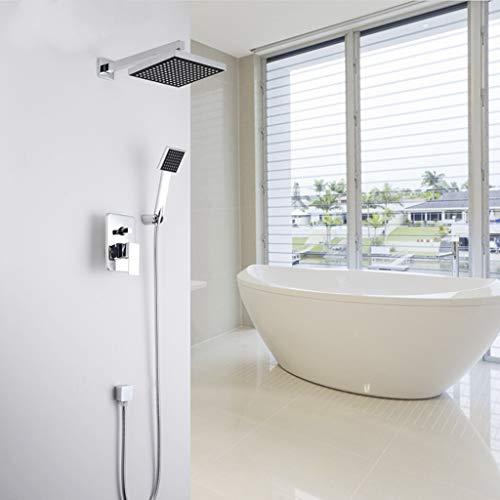 Suishao Inbouwdoucheset in de wanddouche 8 inch vierkante regendouchekop badkraan met handdouche zoals afgebeeld