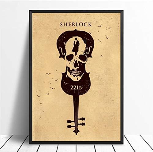 yhnjikl Sherlock Holmes Poster Movie Art Imagen Impresión en Lienzo Decoración para el hogar 40X60Cm Sin Marco