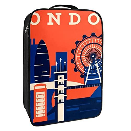 Scatola portaoggetti per scarpe da viaggio e uso quotidiano astratto retrò Skyline di Londra, organizer portatile impermeabile fino a 12 metri con doppia cerniera 4 tasche