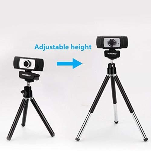 FULL HD 1080P Pro Widescreen Webcam videobellen en opnemen met de ingebouwde microfoon for desktop of laptop, 27-65cm Aluminium Tripod, Free-Driver INSTALLA