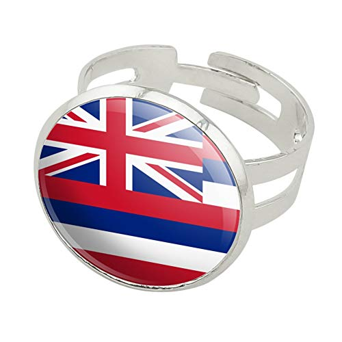 Hawaii State Flag Silver Plated Adjustable Novelty Ring