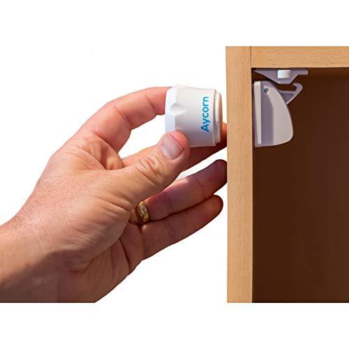 AYCORN Cerraduras de armario magnéticas a prueba de seguridad para niños y bebés, 10 cerraduras y 2 llaves, instalación fácil en segundos, video de instrucciones extra, sin tornillos ni taladros