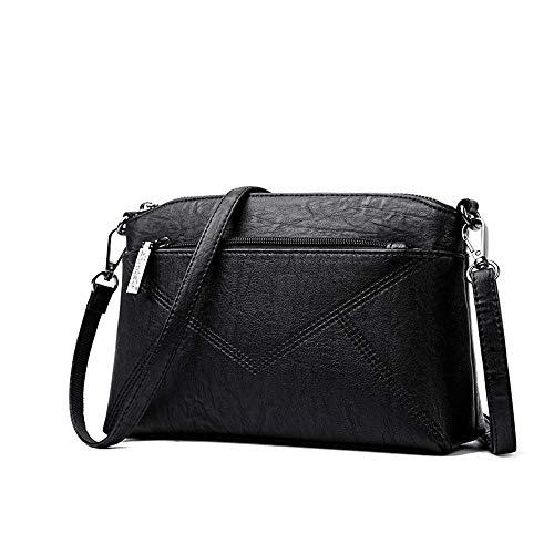 HIZLJJ Womens Geldbörsen und Handtaschen, Umhängetasche für Frauen Weiche verstellbare Schultergurt Leder Schultertasche Fashion Ladies Satchel Tote Bags (Farbe : Schwarz)