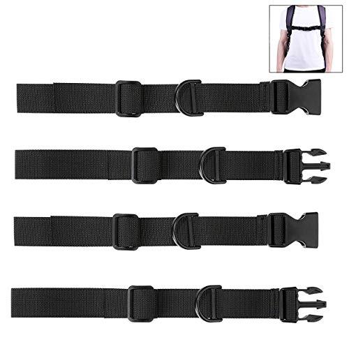 iwobi 4 Stück Rucksack Brustgurt Verstellbarer Rucksack Brustgurt zum Wandern und Joggen, Schwarz