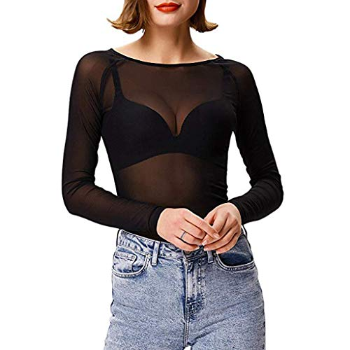 Dames Basic Lange Mouwen Mesh Sheer Shrug Crop Top Vrouwen Doorschijnend Lange Mouw Naadloze Arm Shaper Top Mesh Shirt Blouse Small Zwart