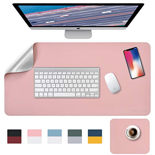 Mouse Pad, Desk Mat, Large Mouse Mat, XL Desk Pads Dual-Sided Pink/Sliver, 40cm x 80cm+ 20cm x 28cm PU Leather Mousepad 2 Pack Waterproof, Mouse Pad for Laptop, Office Table Protector Blotter Gifts