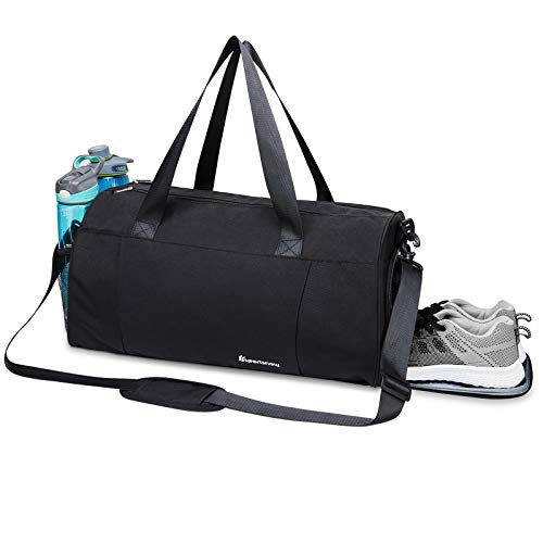 Sports Gym Bag with Wet Pocket & Shoe Compartment Fitness Workout Bag for Men and Women, Black