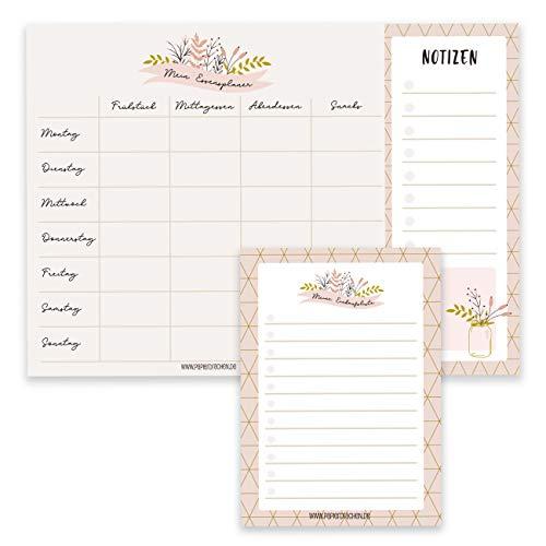Essensplaner Mealplaner und Einkaufsliste als Notizblock - Menüplanung leicht gemacht in DIN A4 und DIN A6 - Wochenplaner mit Blumenmuster - Ideal für den Haushalt - Notizblock Set 13
