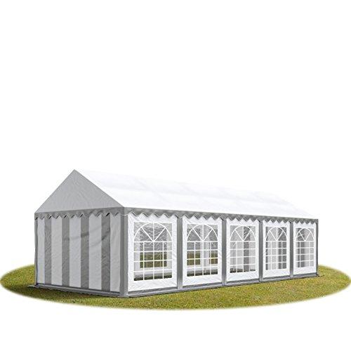 TOOLPORT Party-Zelt Festzelt 4x10 m Garten-Pavillon -Zelt ca. 500g/m² PVC Plane in grau-weiß Wasserdicht