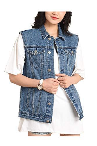 CYSTYLE Neue übergröße Damen Jeansweste BF Jacke Ärmellos Einfache Beiläufige Jeansweste (46)