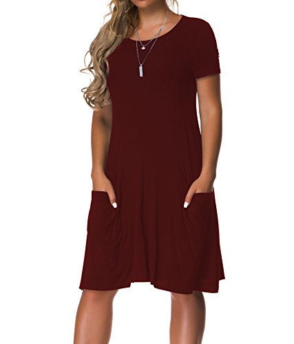 Women's Plus Size Casual Loose T Shirt Mini Dress with Pockets -$13.04(35% Off)