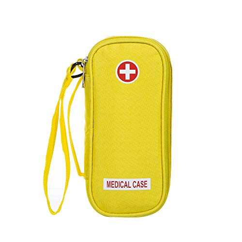 EpiPen Carrying Medical Case - Yellow Insulated Portable Bag with Zipper - for 2 EpiPens, Auvi-Q, Asthma Inhaler, Small Ice Pack, Eye Drops, Allergy Medicine Essentials