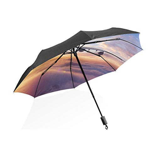 Großer umgekehrter Regenschirm Windundurchlässiges Flugzeug im Himmel bei Sonnenaufgang Tragbarer kompakter Taschenschirm Anti-UV-Schutz Windundurchlässiger Außenreisefrauen-Wende-Regenschirm
