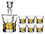 JIUYUE Decantador de Whisky Decantador de vinos Crystal Whisky Decanter 820ml y Juego de 6 Gafas 300 ml de Cristal para espíritus Bourbon o Perfectamente Regalo en Caja Licorera